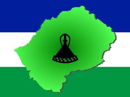 lesotho: map of Lesotho and their flag illustration Stock Photo