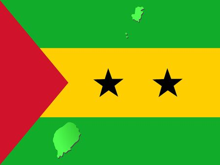 map of Sao Tome and their flag illustration
