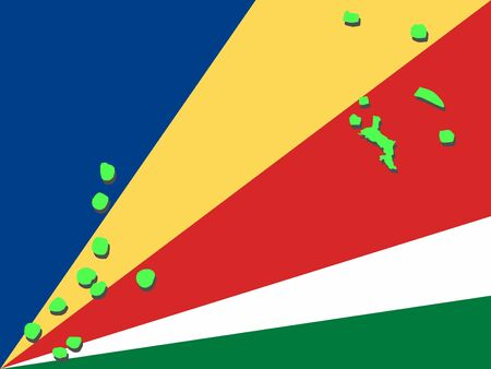 map of Seychelles and their flag illustration