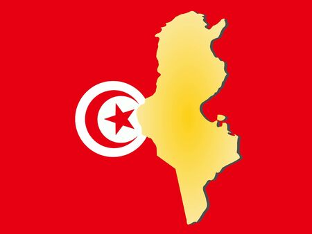 map of Tunisia and their flag illustration illustration