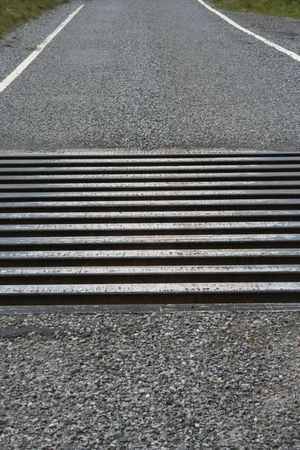cattle grid: close up of cattle grid on road in countryside Stock Photo