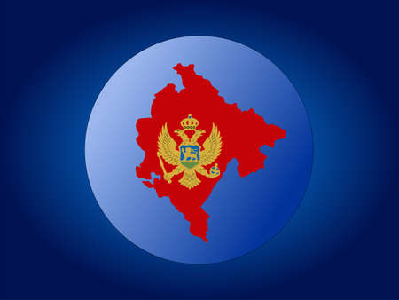 realm: Map and flag of Montenegro globe illustration