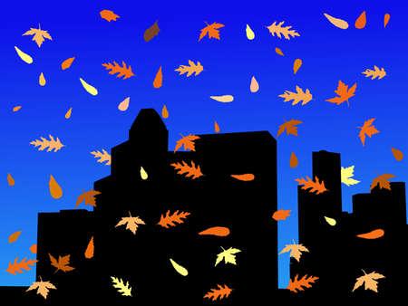 houston: Houston skyline with colourful falling leaves illustration