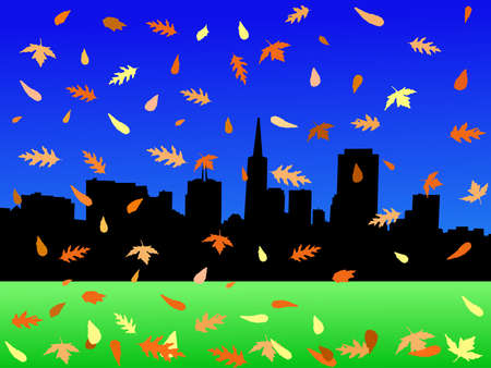 transamerica: San Francisco skyline with colourful falling leaves illustration Stock Photo