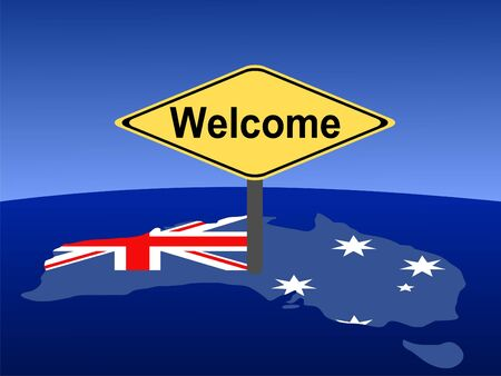 australian money: map and flag of Australia with giant welcome sign