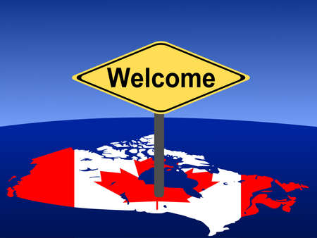 map and flag of Canada with giant welcome sign photo