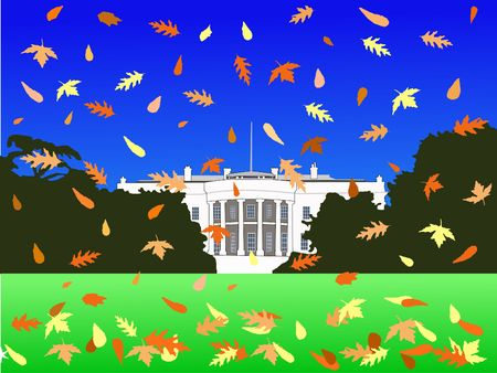 dc: White House Washington DC in autumn with falling leaves