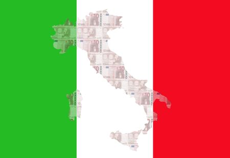 Map of Italy with  10 euro and Italian flag illustration