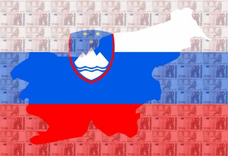 Map of Slovenia with  10 euro and Slovenian flag illustration illustration