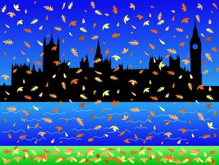 parliament: Houses of parliament London in autumn with falling leaves
