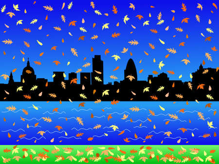 gherkin building: London Skyline in autumn with falling leaves