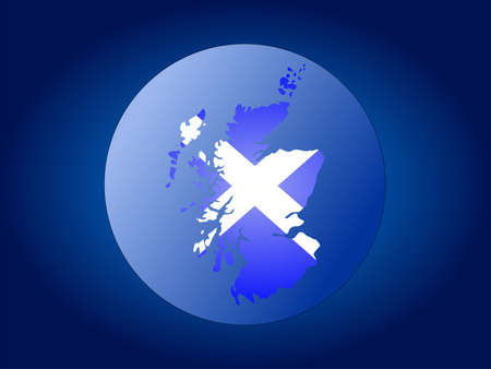 realm: map and flag of Scotland globe illustration