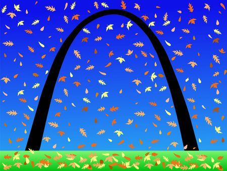 Gateway arch St louis in autumn with falling leaves Stock Photo - 1195119