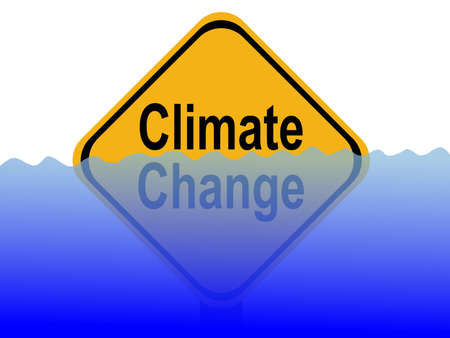 Climate change sign with rising water level illustration Stock Photo