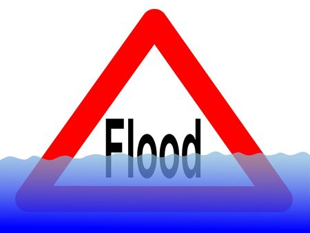 downpour: British flood sign with rising water level illustration