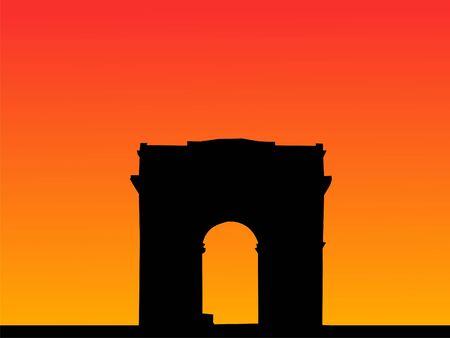 triomphe: Arc de Triomphe Paris at sunset illustration