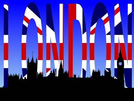 houses of parliament: Houses of parliament with London flag text
