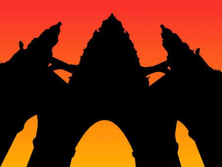 Scott Monument Edinburgh Scotland at sunset illustration illustration