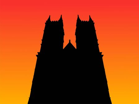 westminster: Westminster Abbey London at sunset illustration