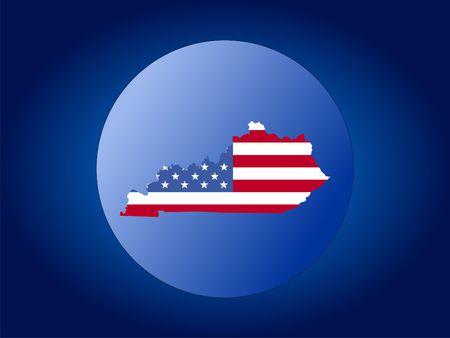 map of Kentucky and American flag globe illustration illustration