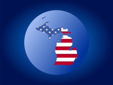 map of Michigan and American flag globe illustration illustration