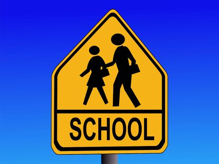 Warning School Sign Stock Photo