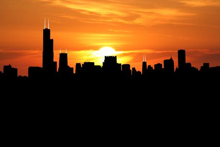 sears: Chicago Skyline with close up of sunset