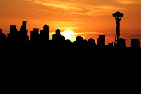 seattle skyline: Seattle skyline with close up of sunset Stock Photo