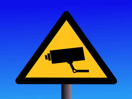 warning cctv camera sign on blue illustration Stock Illustration - 1229591