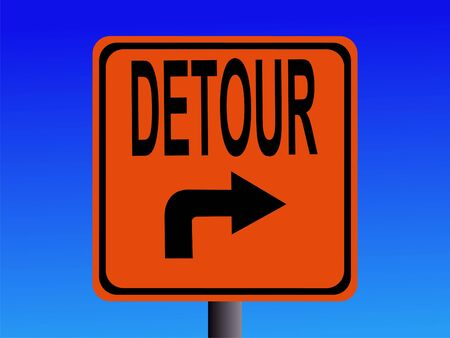 detour: Detour sign with arrow pointing to right