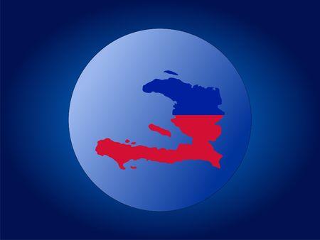 haiti: map and flag of Haiti globe illustration