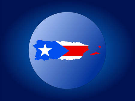 map and flag of Puerto Rico globe illustration illustration