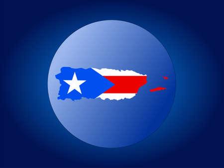 puerto rico: map and flag of Puerto Rico globe illustration