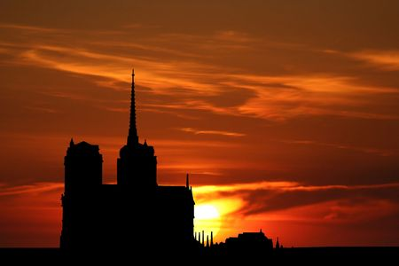 dame: Notre Dame illustration with photo of sunset Stock Photo