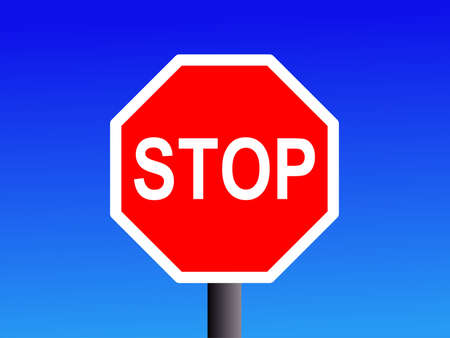 red octagonal stop sign on blue Stock Photo - 1229599