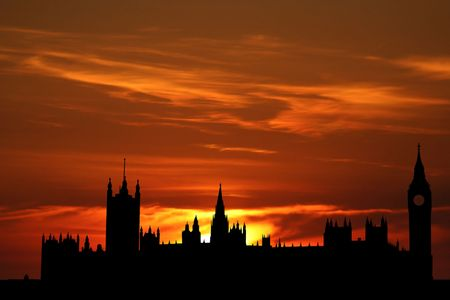 parliament: Houses of parliament London at sunset illustration