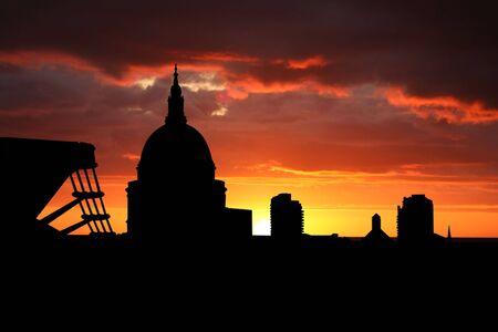 St Pauls cathedral and Millennium Bridge at sunset illustration illustration
