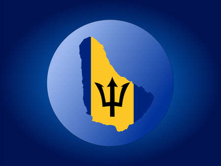 barbadian: map and flag of Barbados globe illustration Stock Photo