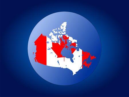 map and flag of Canada globe illustration illustration