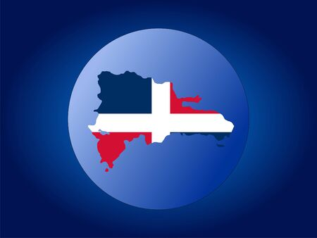 map and flag of Dominican Republic globe illustration illustration