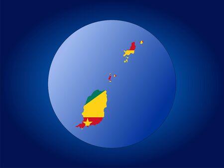 grenada: map and flag of Grenada globe illustration Stock Photo