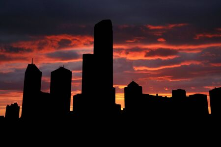 Melbourne Skyline at sunset with beautiful sky illustration Stock Illustration - 1243480