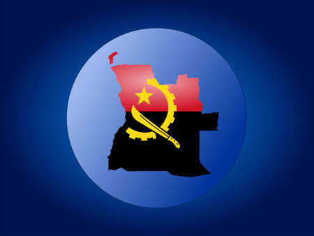 map of angola: map and flag of Angola globe illustration
