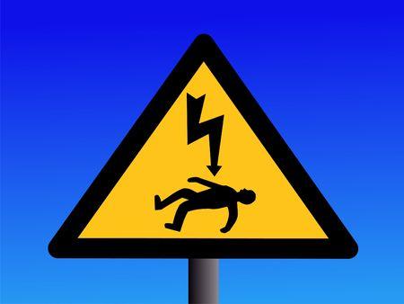 electrocution: Danger of electrocution sign on blue sky illustration