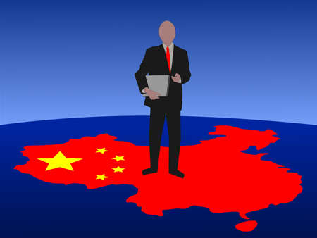 asian man laptop: business man with laptop standing on map of China Stock Photo