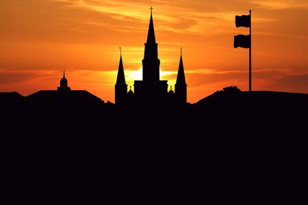 new orleans: St Louis Cathedral Jackson Square New Orleans at sunset illustration