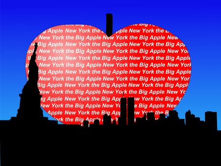 big apple: Statue of Liberty and Manhattan skyline with big apple Stock Photo
