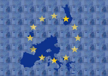 Map and flag of euroland with euros illustration illustration