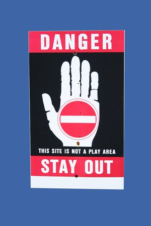 danger no entry sign isolated on blue Stock Photo - 1243519