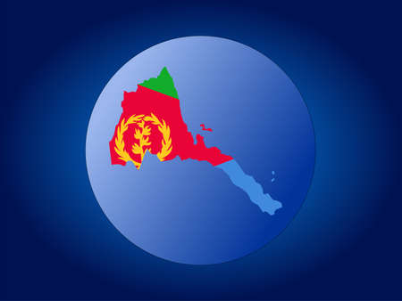 eritrea: map and flag of Eritrea globe illustration Stock Photo